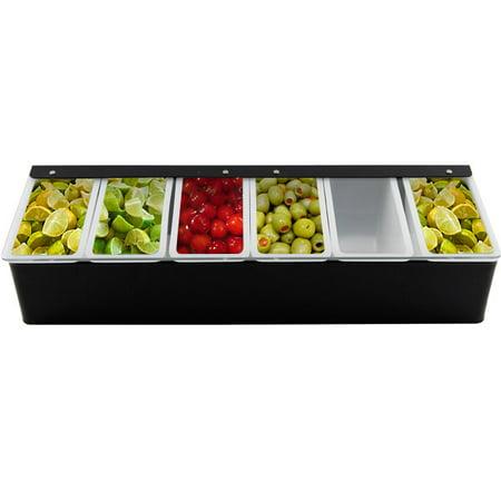 Cocktail Bar Garnish Tray - Black - 6 Compartments