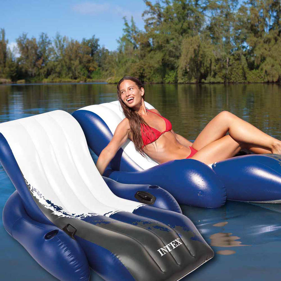 Intex Floating Recliner Inflatable Lounge for Swimming Pools, Pack of 2