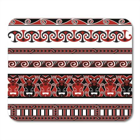 LADDKE Red Tiki Black Tribal Traditional Maori Borders and Patterns White Koru Hawaiian Mousepad Mouse Pad Mouse Mat 9x10 inch