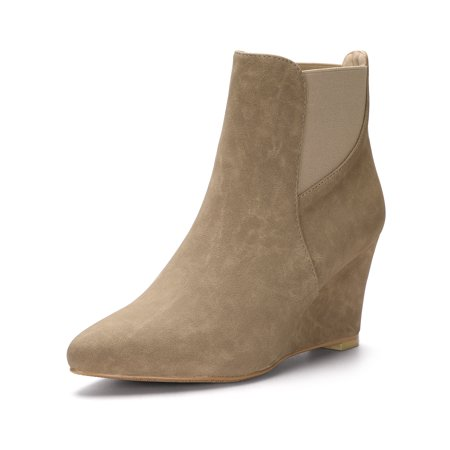 Women's Pointed Toe Elastic Wedge Ankle Boots Brown (Size 7) (Brown Ankle Boots)