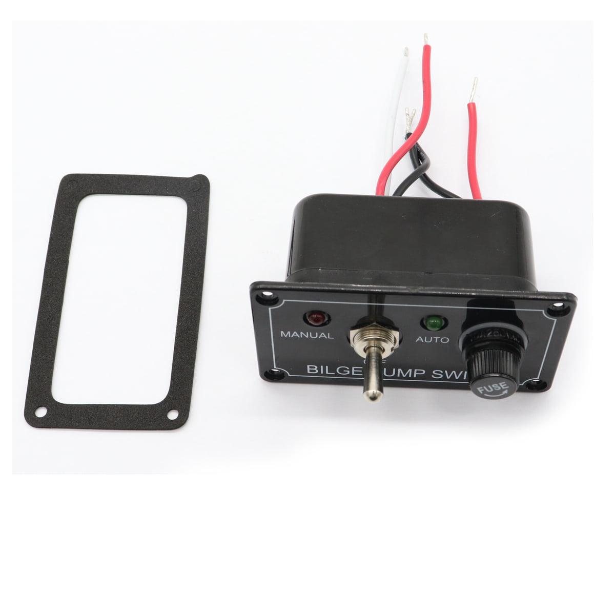 3 Way DC 12V Fused Marine Bilge Pump Switch Control Panel W// LED Indicator