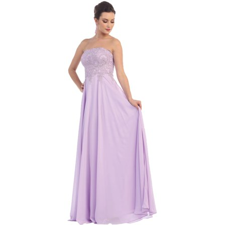 STRAPLESS PROM EVENING GOWN CORSET BACK & PLUS SIZE