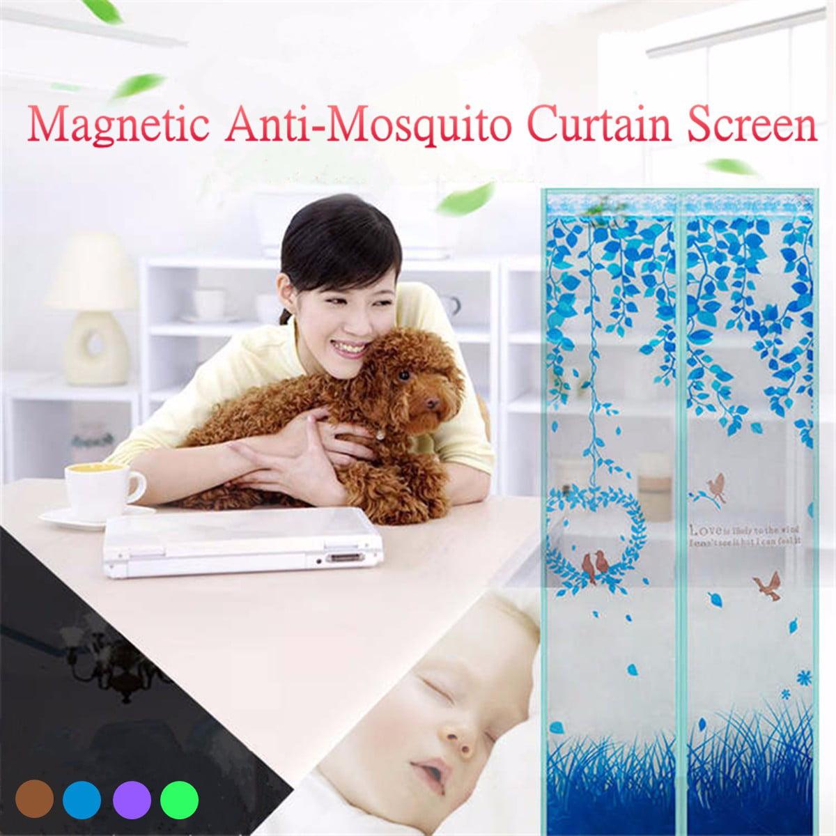"Magnetic Mesh Screen Door Instant Magic Mesh Curtain Closer for 35.9x86.7"" w/ Heavy Duty Mesh - Blue"