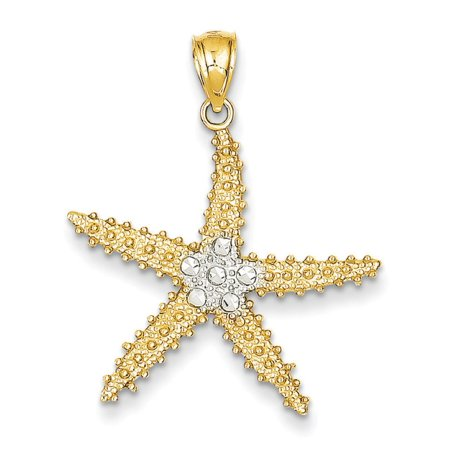 Gold Starfish Charm - 14K Yellow Gold Shiny Starfish Charm Pendant - 27mm