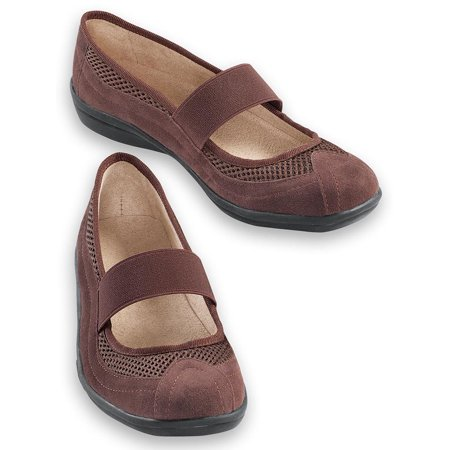 Comfortable Slip-On Mary Jane Shoes, Wide Width - Easy On/Off Design with the Stretchable Strap and Lightweight Flexible Rubber Sole, 10, Chocolate