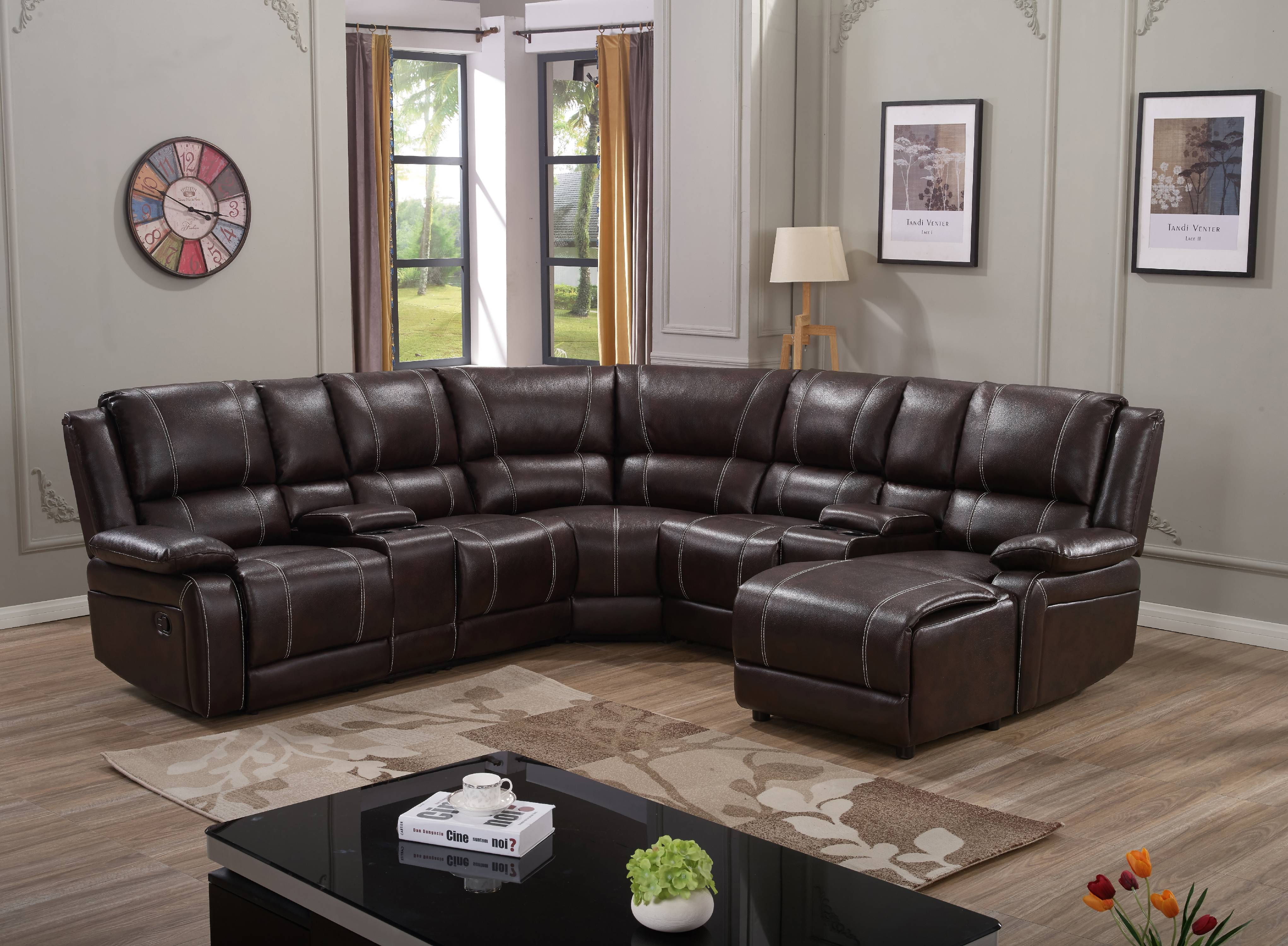 7PC Luxury Bonded Leather Reclining Sectional Sofa Set: Brown Color ...