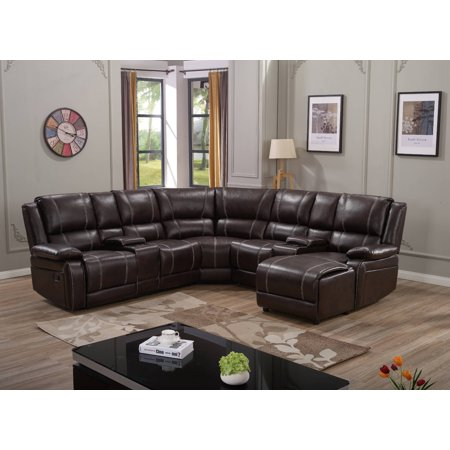 7PC Luxury Bonded Leather Reclining Sectional Sofa Set: Brown Color