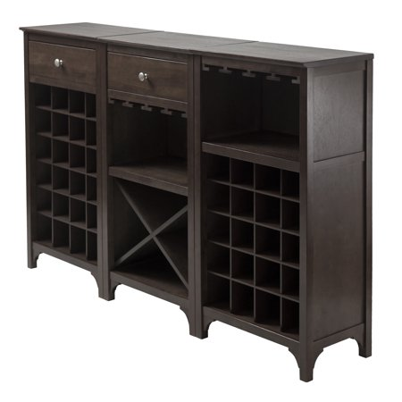 Winsome Wood Ancona 3pc Modular Wine Display Cabinet Set Espresso