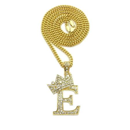 Stone Filled Initial Letter E Pendant 3mm 24