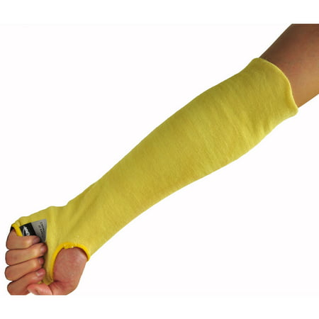 """G & F Kevlar 18"""" Knit Sleeve with Thumb Slot, Yellow, 6 Pack"""