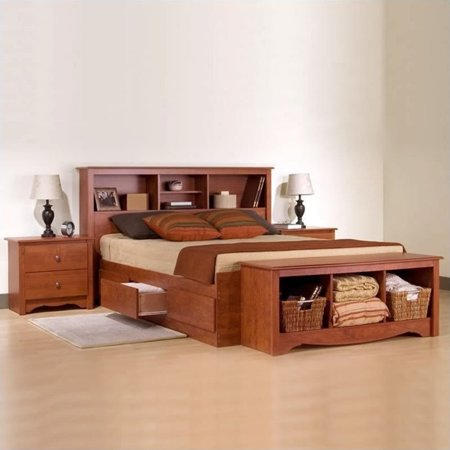 Prepac Monterey Cherry Queen Wood Platform Storage Bed 3 Piece Bedroom Set ()