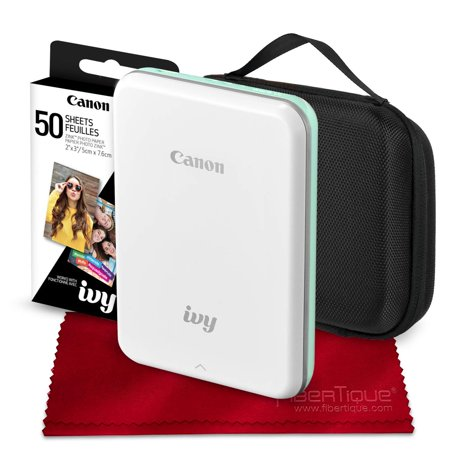 Deluxe Hardshell - Canon Ivy Mini Mobile Photo Printer (Mint Green) with Canon 2 x 3 Zink Photo Paper (50 Sheets) and Hard Shell Case Deluxe Bundle