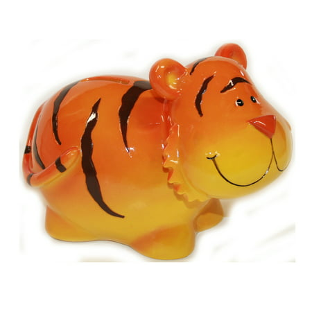 Orange Tiger with Chubby Cheeks Coin Bank (Clemson Tigers Piggy Bank)
