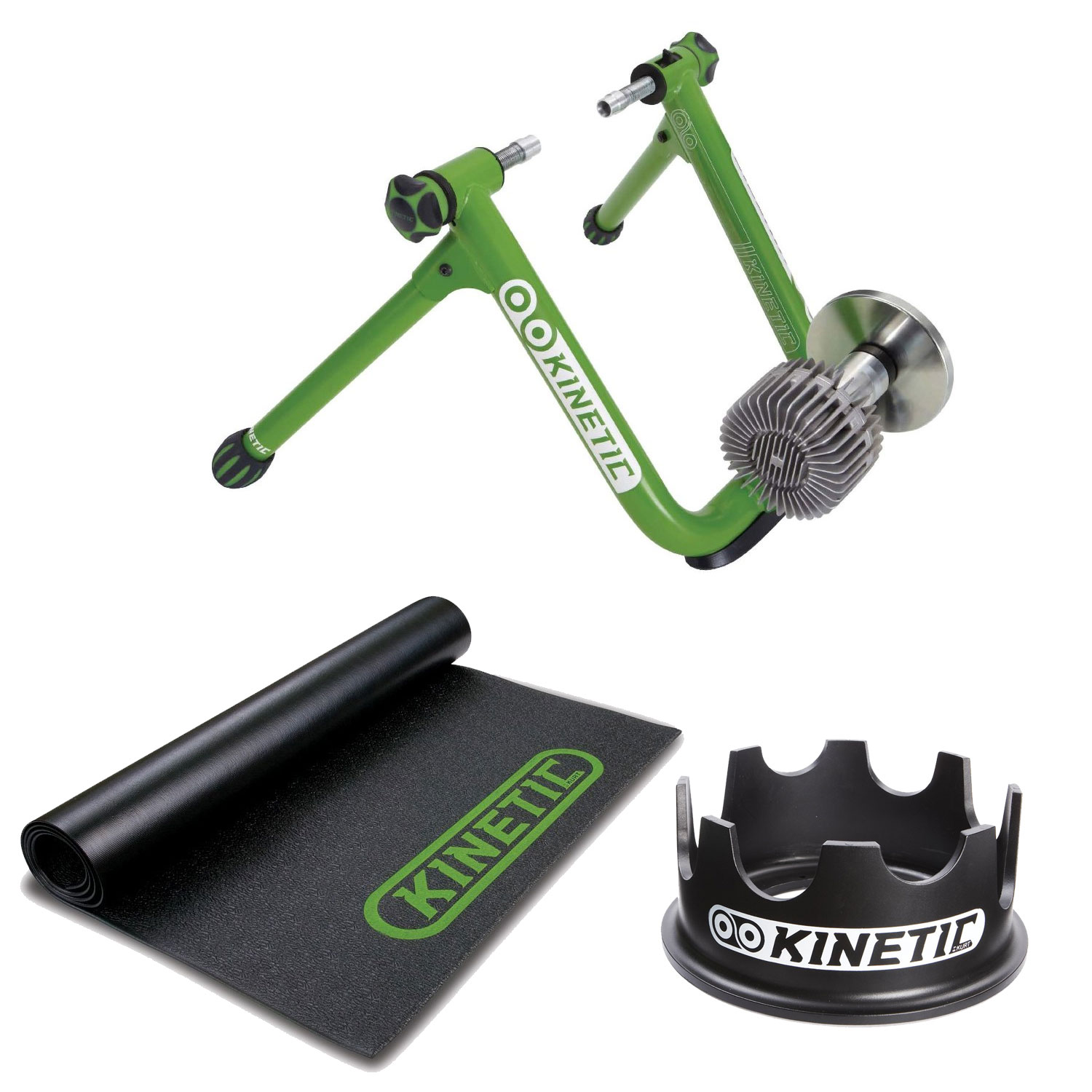 Kurt Kinetic Kinetic T-2200 New Road Machine 2.0 Fluid Trainer + Kinetic Rubber Bicycle Trainer Floor Mat + Kinetic Fixed Riser Ring