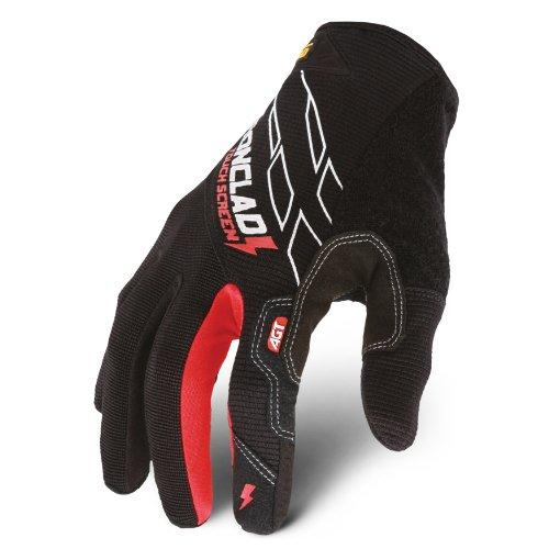 Ironclad TSG04L Touchscreen Gloves, Black/red, Large