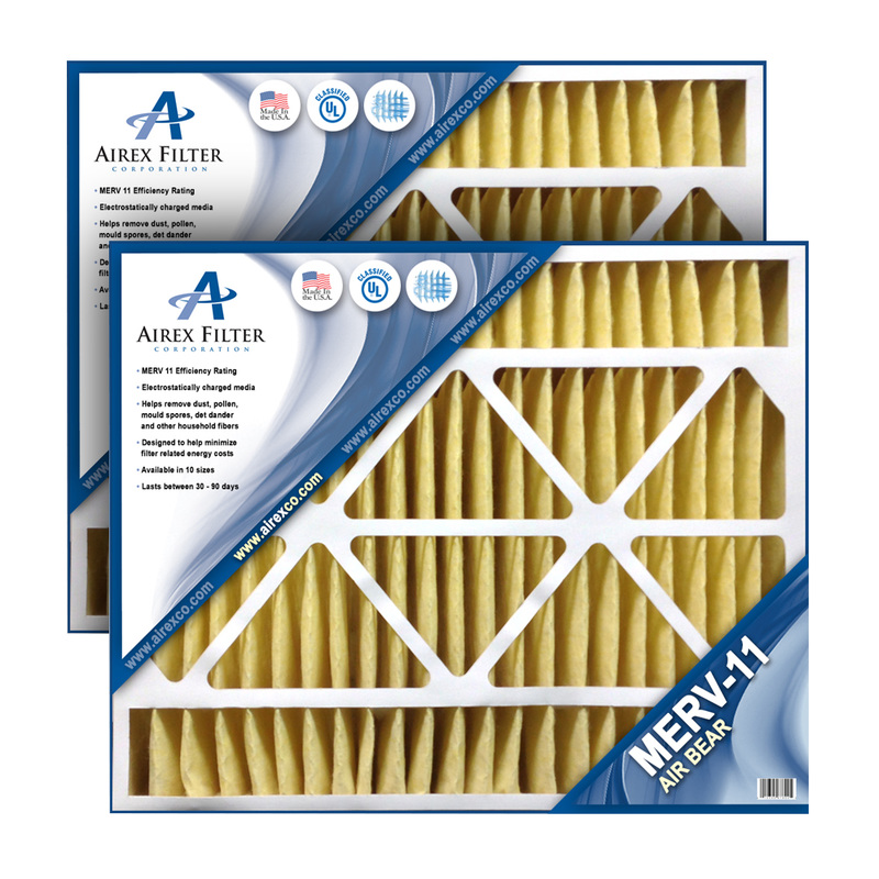20x25x5 Air Bear Replacement Filter - MERV 11 - Highest Quality - 2 Pack - (Actual Size: 19.875 X 24.75 X 4.75) AB1120255
