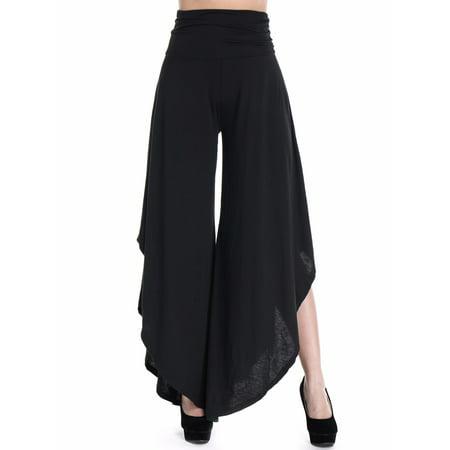 Wide Waist Crop Pant - Fittoo Women's Layered Wide Leg Flowy Cropped Palazzo Pants, 3/4 Length High Waist Palazzo Wide Legs Capri Pants