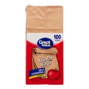Great Value Fold Top Paper Lunch Bags, Brown, 100 Ct