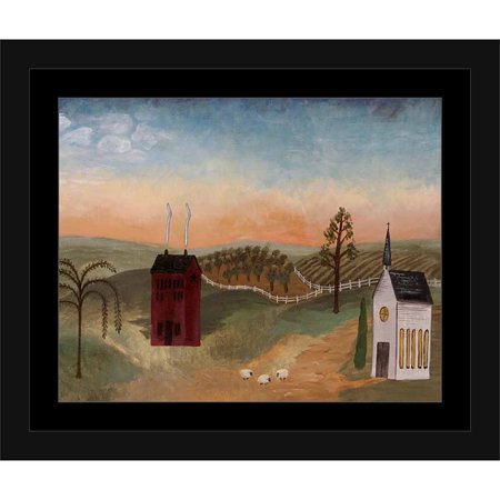 Americana Home Church Folk Primitive Sheep Landscape Painting Green & Blue, Framed Canvas Art by Pied Piper Creative](Halloween Folk Art Paintings)