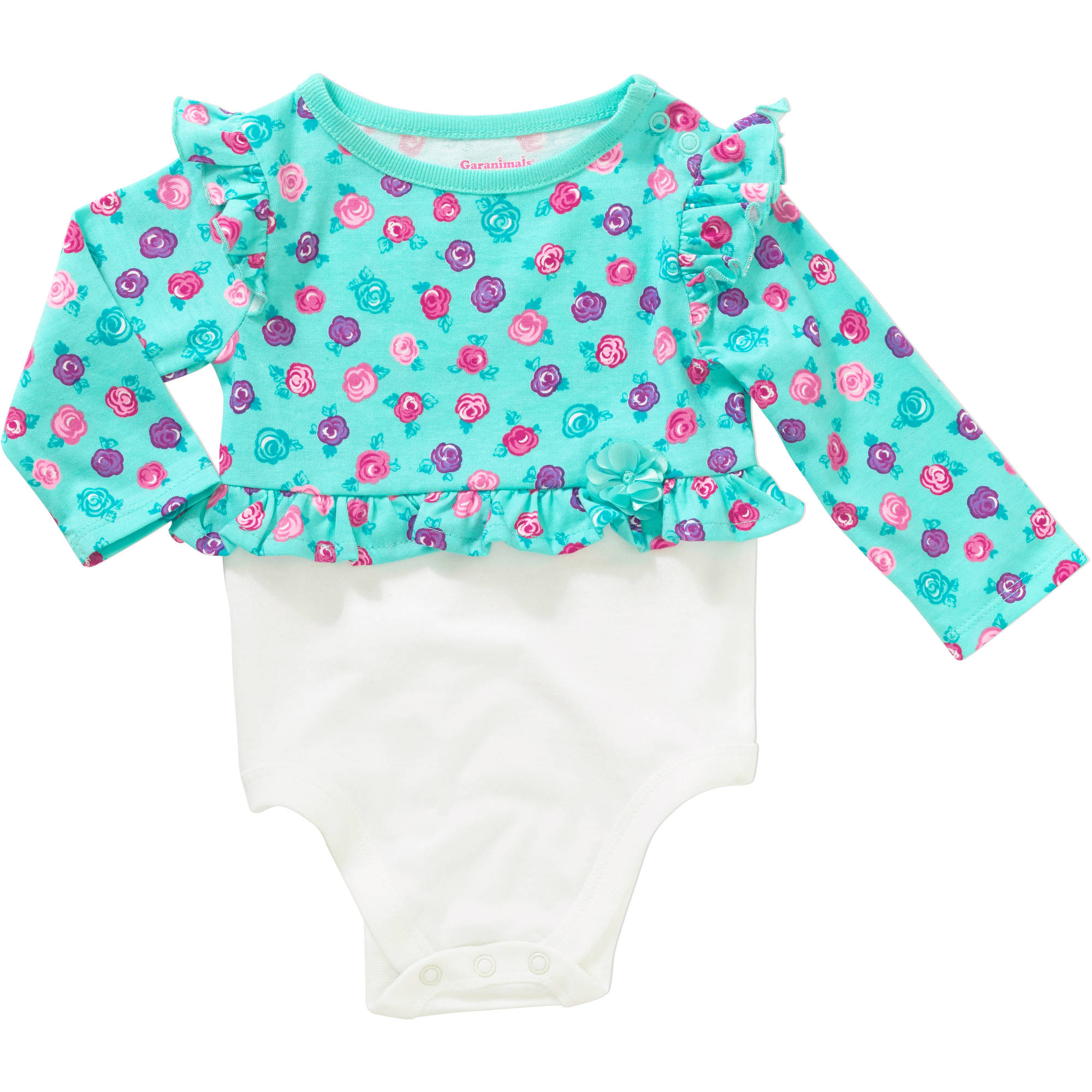 Garanimals Newborn Baby Girl Long Sleeve Flutter Peplum Bodysuit