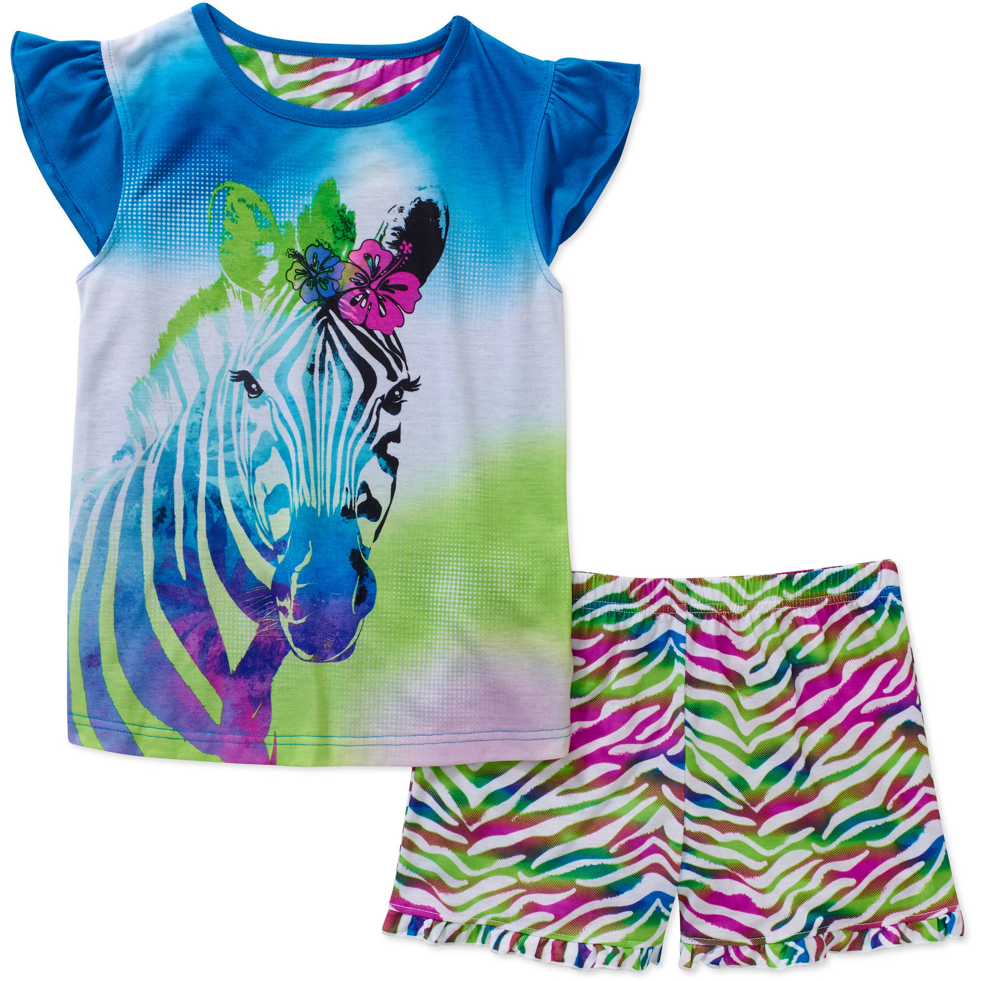 Girls' Graphic Short Sleeve Sleep Top and Short 2 Piece Pajama Set