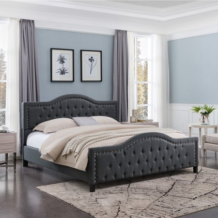 mesmerizing bed frame light brown grey bedroom walls | Noble House Tanner Traditional Fully Upholstered Queen ...