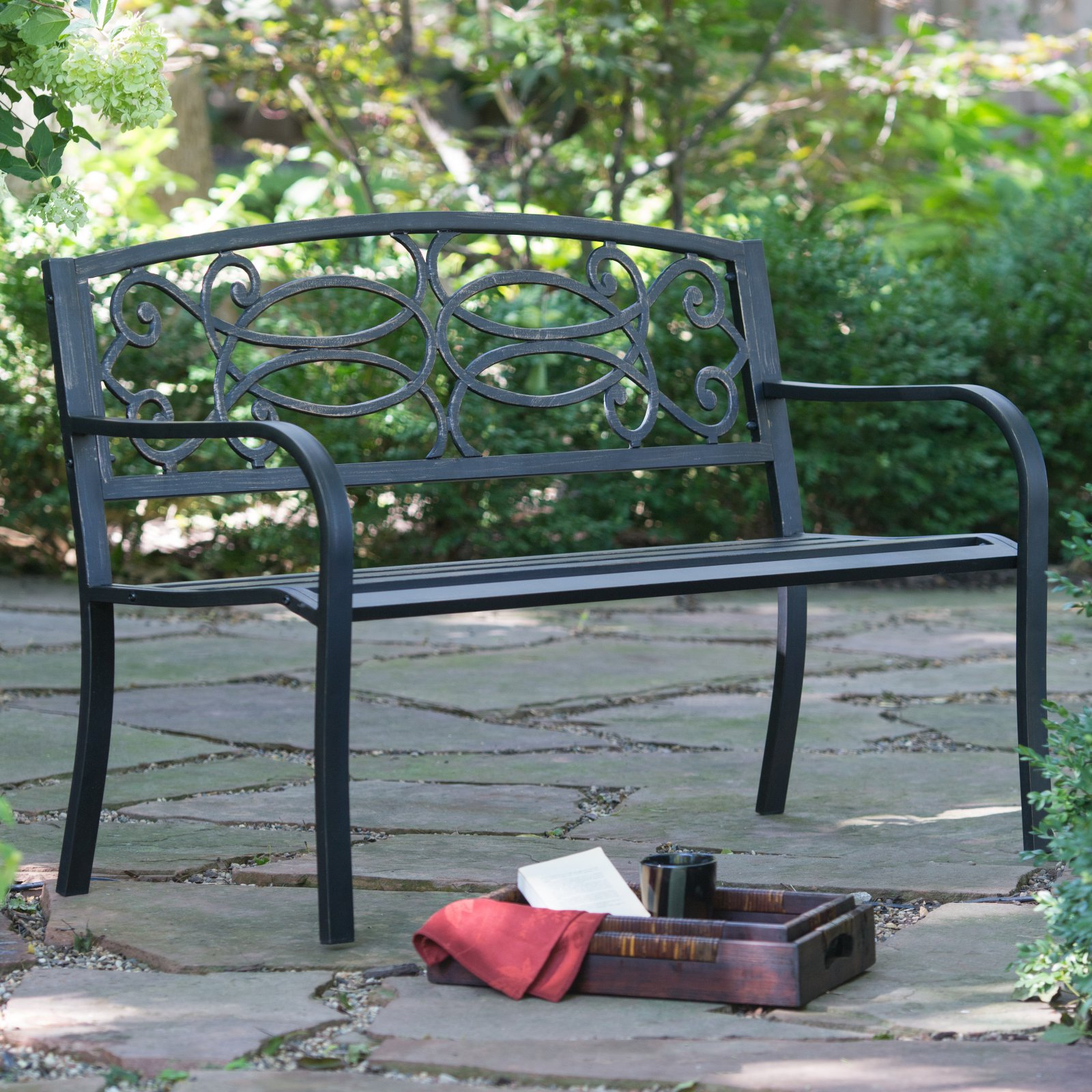 Coral Coast Scroll Curved Back 4 Ft. Metal Garden Bench