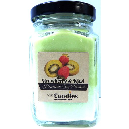 Strawberry Kiwi 6oz Victorian Square Glass Jar Soy Candle - Made with Essential Oil Sophisticated and Timeless