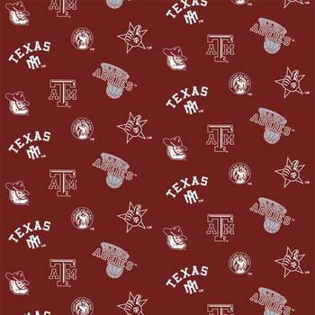 Texas Longhorns Fabric (Texas A and M University Fabric Super Soft Collegiate Classic Fleece Allover Design-Sold by the Yard)