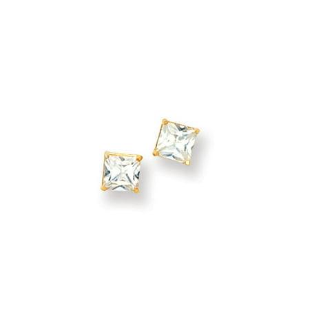 3679fb113 Black Bow Jewelry Company - 5mm Princess Basket Set Cubic Zirconia Earrings  in 14k Yellow Gold - Walmart.com
