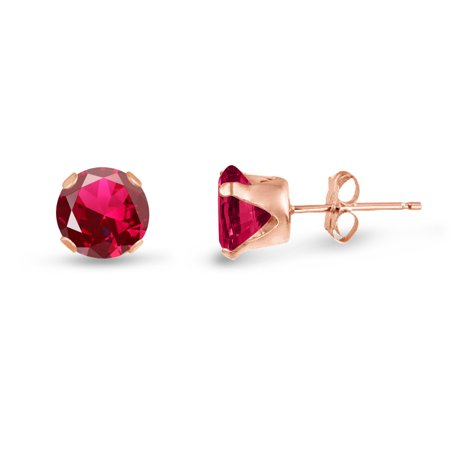 - Round 8mm Rose Gold Plated Sterling Silver Lab-Created Ruby Stud Earrings, Free Gift Box included