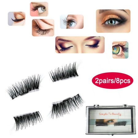 8Pcs/2 Pairs 3D Magnetic False Eyelashes Handmade Natural No Glue Extension  Eye Lashes Makeup #002