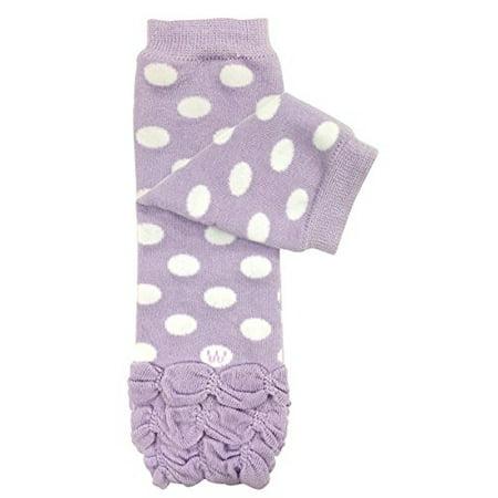ALLYDREW Stripes, Polka Dots & Chevron Baby Leg Warmer & Toddler Leg Warmer for Boys & Girls, Purple Polka Dots & Ruffle Bottom