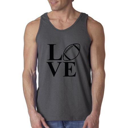 Trendy USA 1268 - Men's Tank-Top Love American Football Gridiron Pigskin Sports 3XL Charcoal