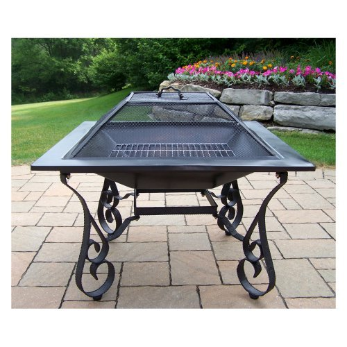 Oakland Living Victoria 33 in. Black Fire Pit with Grill