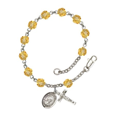 St. Louis Marie de Montfort Silver Plate Rosary Bracelet 6mm November Yellow Fire Polished Beads Crucifix 5/8 x 1/4