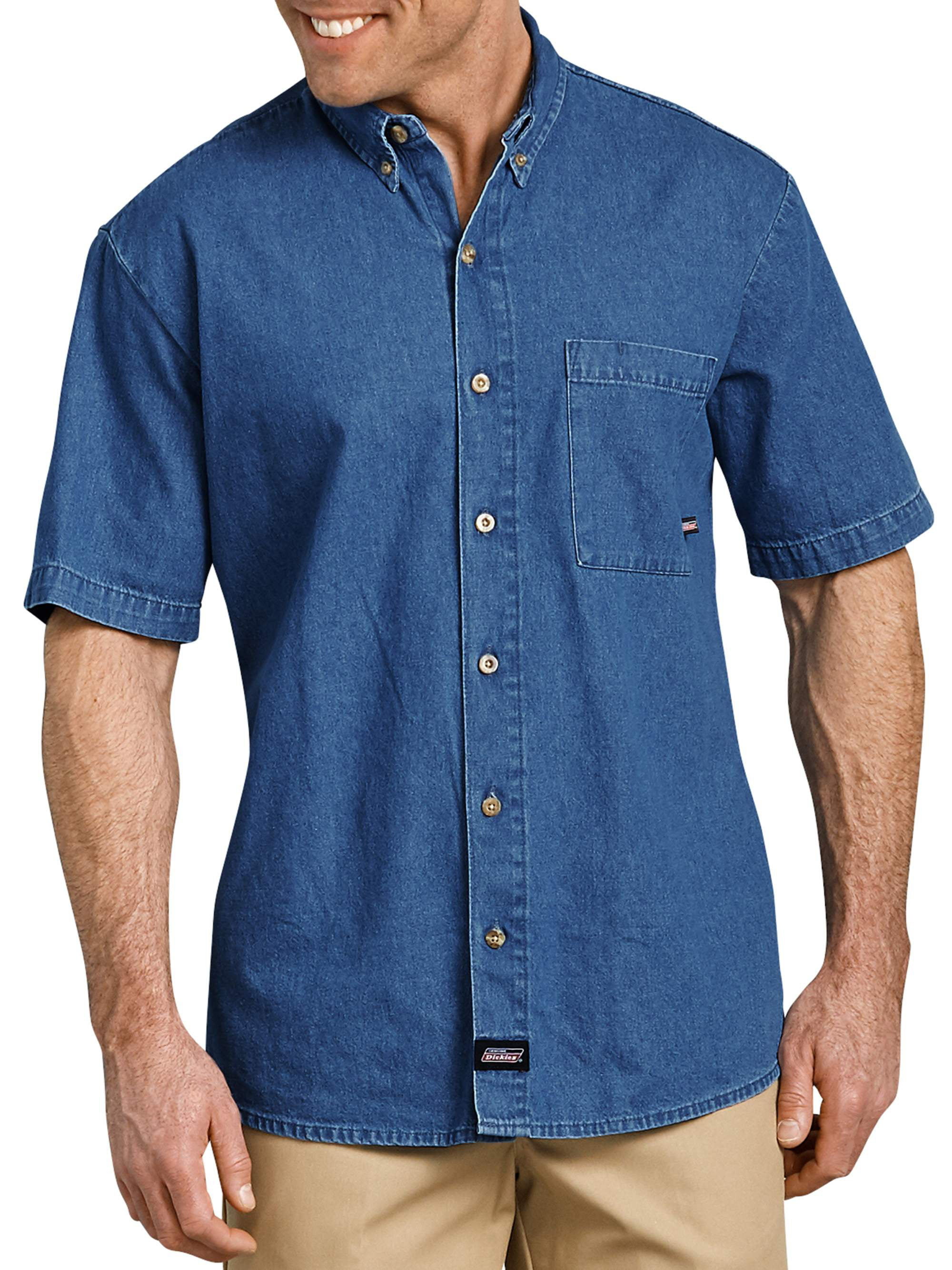 ede4c697b8 Dickies - Men s Short Sleeve Button Down Denim Shirt - Walmart.com
