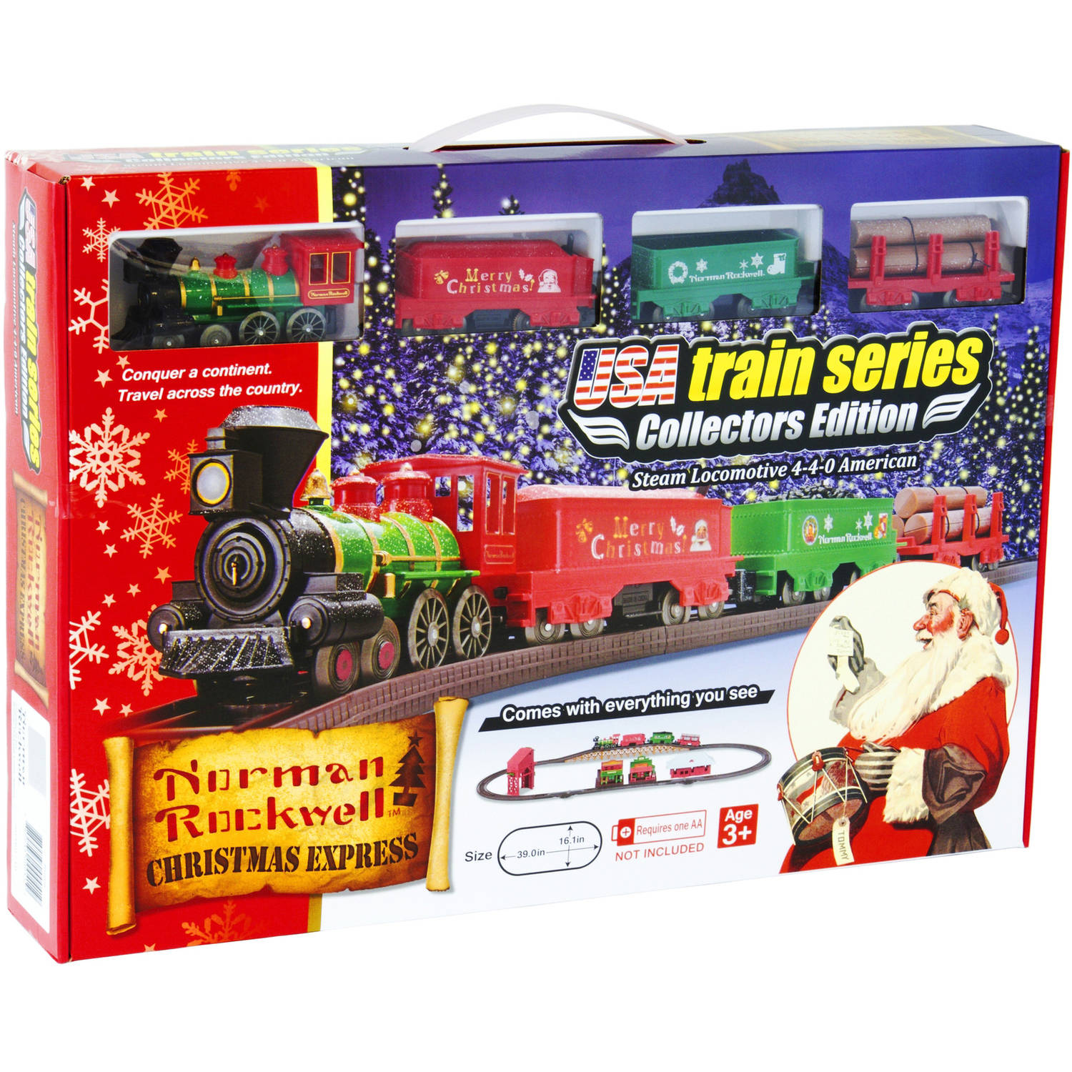 LEC Norman Rockwell Christmas Steam Locomotive American 4-4-0 Battery Operated Train Set