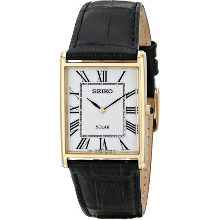 Solar White Dial Black Leather Mens Watch SUP880