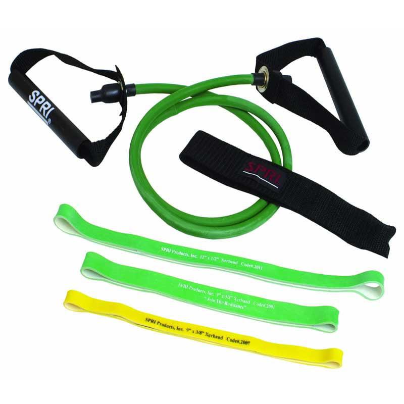 Spri Green Xertube and 3 Resistance Bands w/ Door Attachment