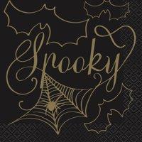 Black & Gold Spider Web Halloween Paper Cocktail Napkins, 5in, 32ct