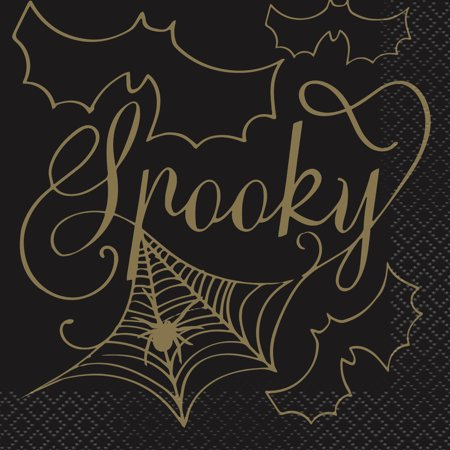 Halloween Cocktail Ideas (Black & Gold Spider Web Halloween Paper Cocktail Napkins, 5in,)