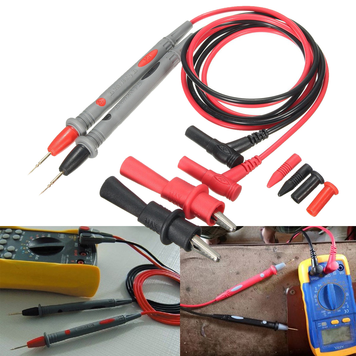2PCS 1000V 20A Probe Test Lead & Alloy Alligator Electrical Tools Clips Clamp Cable Use for Multi Meter Digital Multimeter Test