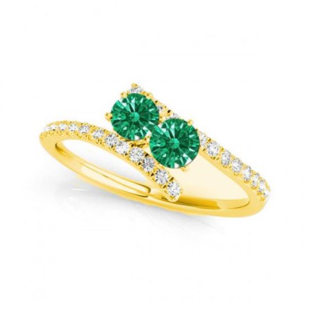R781-EM-D-1.0-14Y-vs-2 1.0 14K Yellow Gold Emerald Two Stone Rings, vs-2 Round - image 1 of 1