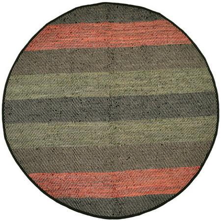 Union Rustic Sandford Striped Leather Chindi Black Area Rug