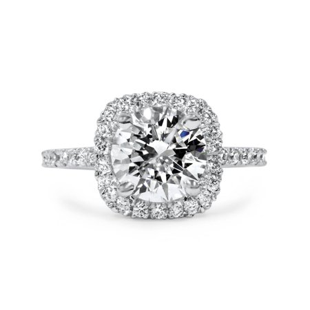 1 3/4 CT Cushion Halo Diamond Engagement Ring Round G-SI 14K White Gold (Rainbow Topaz Engagement Rings)