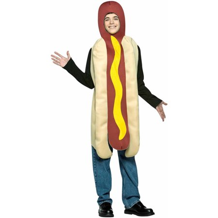 Hot Dog Teen Halloween Costume, One Size, (33-35) (Dog Halloween Costume Ideas Homemade)