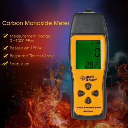 SMART SENSOR Handheld Carbon Monoxide Meter with High Precision CO Gas Tester Monitor Detector Gauge LCD Display Sound and Light Alarm 0-1000ppm