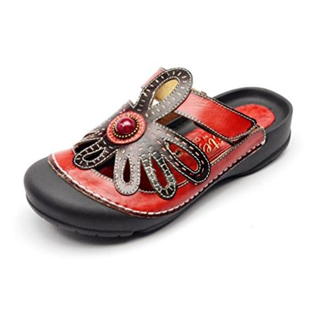 CORKYS Womens Elite Stone Adjustable Slide-On Bump Toe Leather Clog Sandal Shoe (Red Multi, 9)