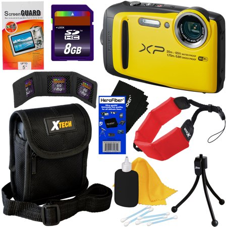 Fujifilm FinePix XP120 16.4 MP Waterproof & Shockproof Digital Camera with built-in Wi-Fi & 5x Optical Zoom (Yellow) + 8pc 8GB Accessory Kit w/ HeroFiber Gentle Cleaning Cloth - Frozen Camera
